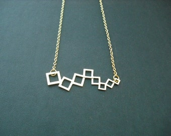 Gold Bridesmaid Necklace with Modern Linked Squares Connector, Bridesmaid Gift, wedding Gift, Birthday Gift