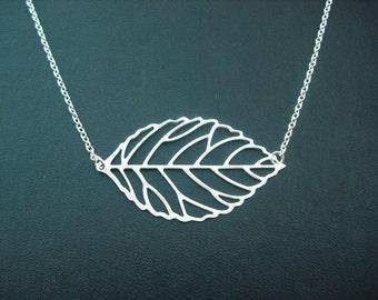 matte silver skeleton leaf necklace - white gold plated