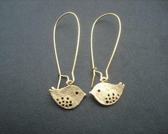 love birds earrings - antique gold