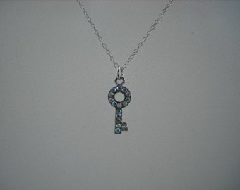 SALE -adorable rhinestone key necklace - sterling silver chain