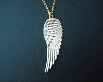 SALE - angel wing necklace - matte 16K yellow gold plated