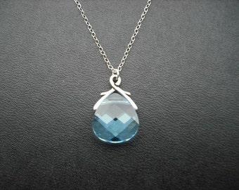 March Birthstone Necklace,  Aquamarine Necklace, Swarovski Briolette Crystal Necklace