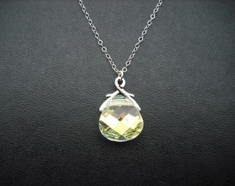 drop of crysal - swarovski crystal and sterling silver necklace