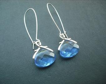 March Birthstone Earrings, Aquamarine Crystal Glass Briolette Earring