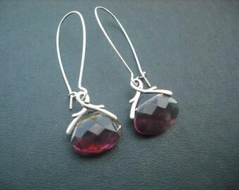 Bridesmaid Earrings, Silver Crystal Glass Briolette Earrings - Amethyst Purple Birthstone Earrings, February Birthday Earrings