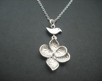 Matte Silver Necklace with Five Leaf Blossom and Bird