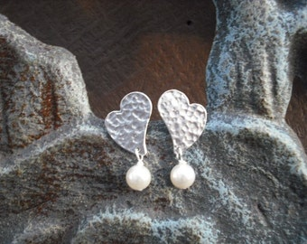 Birthstone, matte white gold heart earrings - sterling silver post, bridesmaids gift, wedding gift