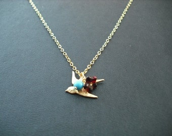 Gold Necklace, little bird necklace - 14K gold filled chain