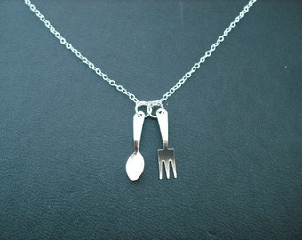 spoon and fork necklace - sterling silver chain