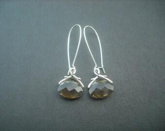 Crystal Glass Briolette Earring - Gray (black diamond)