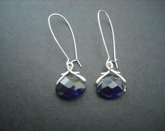 crystal glass  briolette earring - Cobalt blue