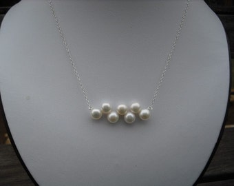 bridesmaid necklace, wedding gift, bridesmaid gift, sterling silver necklace with button freshwater pearls