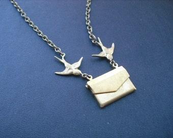 Locket Necklace, Antique Brass Necklace, bring you joy locket necklace