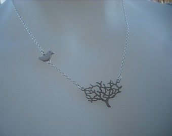 matte white gold plated tree necklace - white gold plated chain