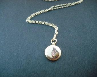 mini partridge locket necklace - 14K gold filled