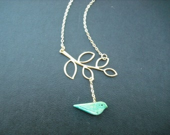 matte yellow gold five leaf branch and turquoise bird necklace - 16K gold plated chain