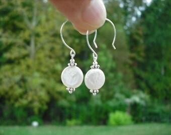 coin pearl earrings - sterling silver