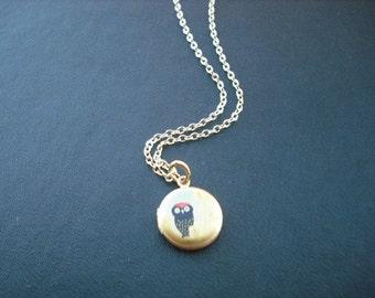 sweet little red top owl locket necklace - 14K gold filled