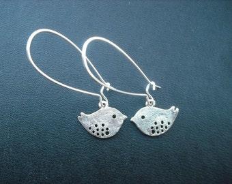 love birds earrings - antique silver