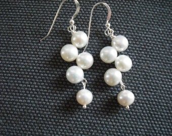white button freshwater pearl earrings - sterling silver