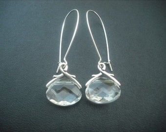 crystal glass briolette earring - clear