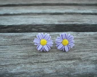 purple sunflower post earring