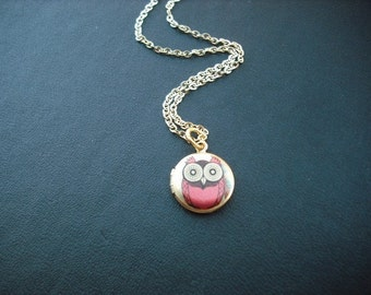 mini red whimsical owl locket necklace - 14K gold filled