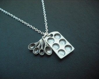 Muffin Pan and Measuring Spoon Necklace, Antique Silver Necklace