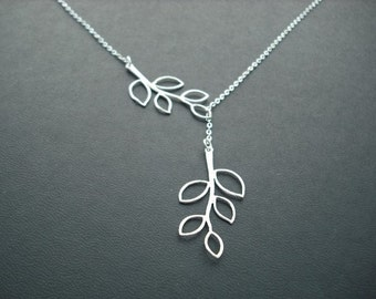 five leaf branch lariat - matte white gold