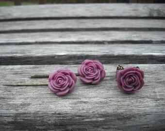 lagoon rose flower bobby pin and ring set - antique brass metal
