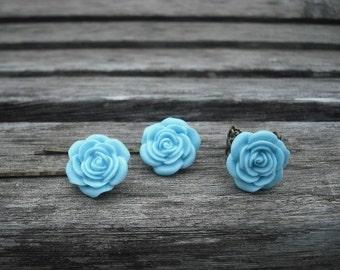 light blue rose flower bobby pin and ring set - antique brass metal