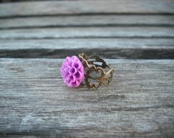 antique brass mum ring - bright purple