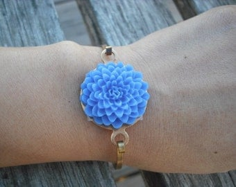 Dark Blue Mum Hinge Cuff Bangle Bracelet