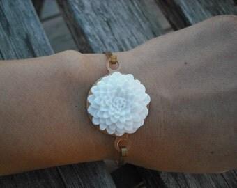 white Mum Hinge Cuff Bangle Bracelet
