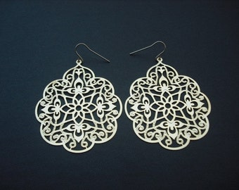 filigree leaf earrings  - 16K yellow gold plated