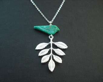 seven leaf branch and turquoise bird necklace