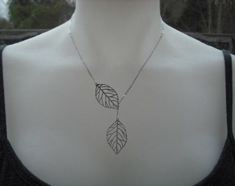leafy lariat - white gold plated