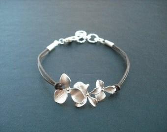 Bridesmaid Gift, Bridesmaid Bracelet, Silver Orchid Flowers Bracelet, Flower Girl Gift, Birthday Gift, Wedding Gift