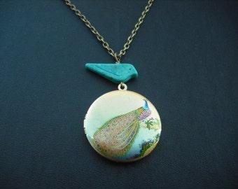 Peacock in Bloom locket necklace