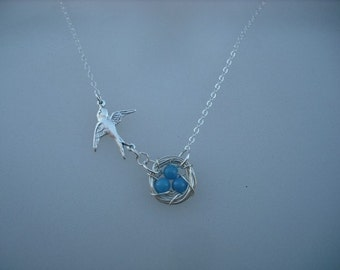 come with me - sterling silver necklace - new version - mountain jade turquoise bead
