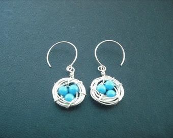 robin's little nest earring - sterling silver - new version - mountain jade turquoise bead