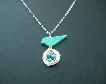 turquoise bird and nest necklace - white gold plated chain