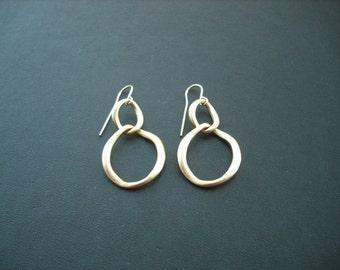 Bridesmaid Earrings, matte 16K yellow gold plated earrings, double curb link earrings