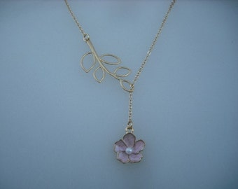 Gold Lariat Necklace with Pink flower and Five Leaf Branch
