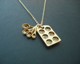 Muffin Pan and Measuring Spoon Necklace - Antique Gold and 16K Gold Plated Chain