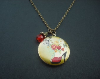 SALE - Red Shoe Fantasy locket necklace