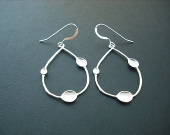 Unique Textured Teardrop Earrings - matte white gold plated and sterling silver ear wires