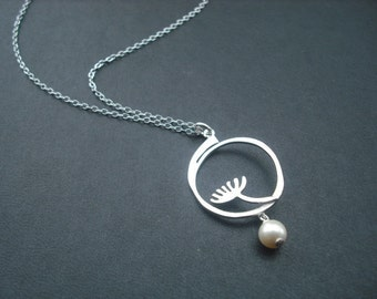 adorable dandelion necklace - white gold plated