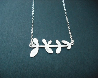 matte finish nine leaf branch necklace - matte white gold plated