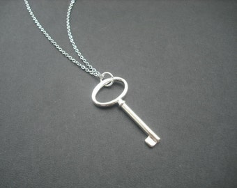 Unique Simplicity Key Pendant  necklace - anti tarnish sterling silver plated